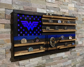 Wood American Flag, Police Retirement, Challenge Coin, Challenge Coin Display, Thin Blue Line, LED, Superhero, Police Gift, TBL, LEO Gift