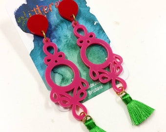 Candy Floss bright acrylic earring