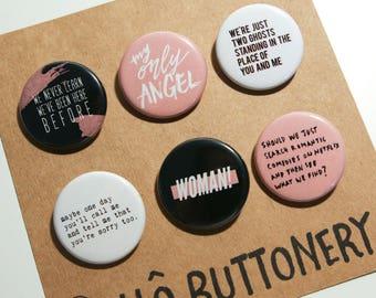 Harry Styles Pins, Harry Styles Buttons, Harry Styles Lyrics Set