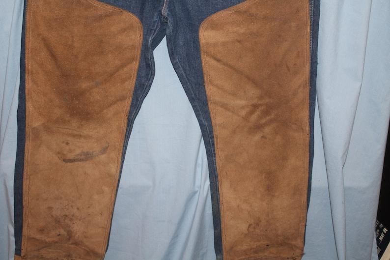 Vintage Rustler Denim Blue Jeans with Suede Leather Reinforced Knees size 40x30