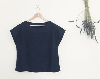 Cotton/Linen - Short sleeves top, oversize top, loose fit, relaxed fit
