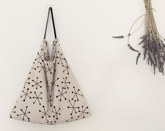 Large Linen-Cotton bag/linen everyday tote/large market bag/lightweight linen tote/floral print tote/natural tote bag/printed linen bag