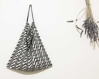 Large Linen-Cotton bag/linen everyday tote/large market bag/lightweight linen tote/japanese print tote/natural tote bag/printed linen bag