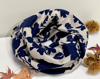 Pure Linen Infinity Scarf/loop linen scarf/snood/lightweight linen scarf/floral print/Navy print scarf/summer scarf/autumn scarf