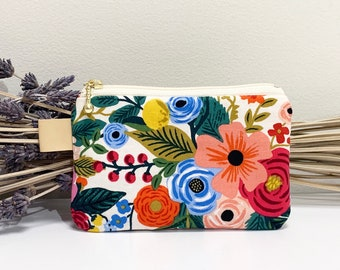 Floral print zipper pouch with leather tag/cotton and steel fabric/cosmetic pouch/make up bag/zip travel pouch/coin purse/large pencil case