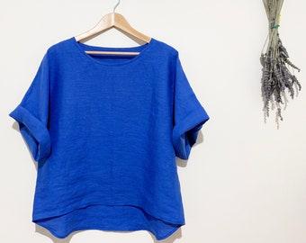 European linen/Japanese linen 3/4 sleeves top/oversized linen top/loose fit linen top/relaxed fit/round neck linen top/royal blue linen top