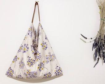 Large Linen-Cotton bag/linen everyday tote/large market bag/lightweight tote/hydrangea floral print tote/natural tote bag/printed linen bag