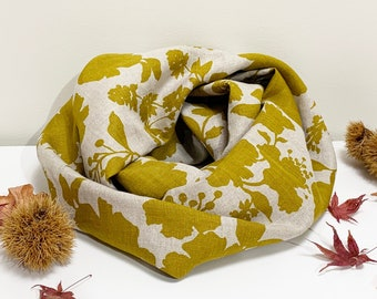 Pure Linen Infinity Scarf/loop linen scarf/snood/lightweight linen scarf/floral print/yellow mustard print scarf/summer scarf/autumn scarf