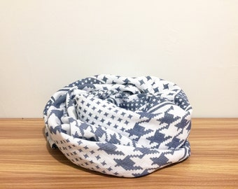Last one!!!   Houndstooth Linen square scarf/linen oversize scarf/lightweight linen scarf/blue and white linen scarf/summer linen scarf
