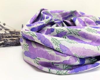 Cotton-Linen Infinity Scarf/loop cotton linen scarf/snood/lightweight cotton linen scarf/floral print/purple lavender scarf/summer scarf