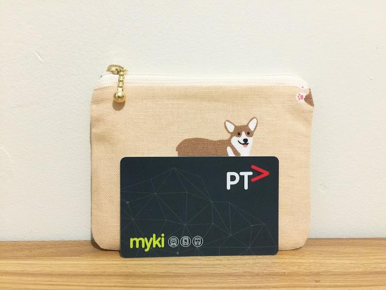 Corgi coin pursesmall zipper pouchdog print fabric coin pursemyki card holderoyster card walletcredit card wallettravel card holder