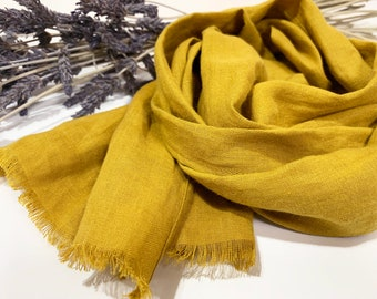 Japanese Linen Scarf/skinny linen scarf/narrow linen scarf/mustard linen scarf/yellow scarf/lightweight linen scarf/summer scarf