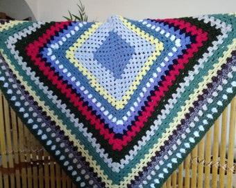 Original 70s handcrocheted blanket...30 inches square...multi coloured retro throw