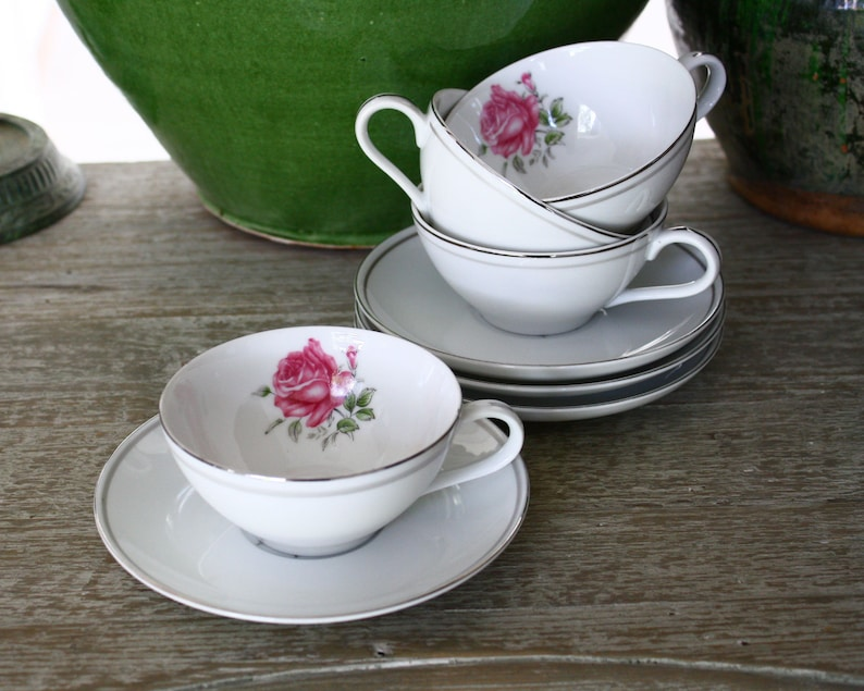 GOLD STANDARD Coffee Cup SAUCER Genuine Porcelain China JAPAN Pink Floral