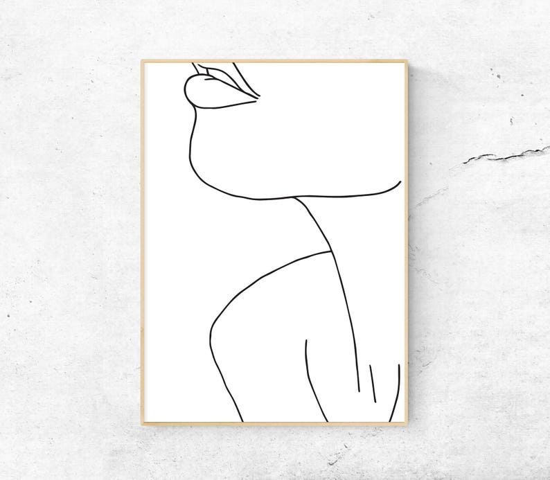White Abstract Female Face Neck Body Printable Art Etsy