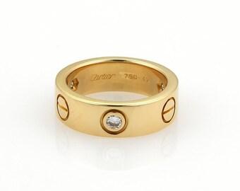 4cd72e731d55 Cartier Love 3 Diamonds 18k Yellow Gold 5.5mm Band Ring Size EU 47-US 4  w Cert.