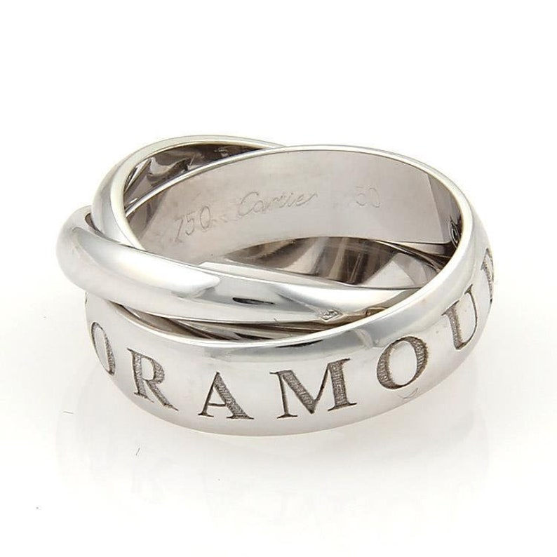 02d3d7be6346e Cartier Amour Et Trinity 18k White Gold Rolling Bands Ring Size EU 50-US 5.5