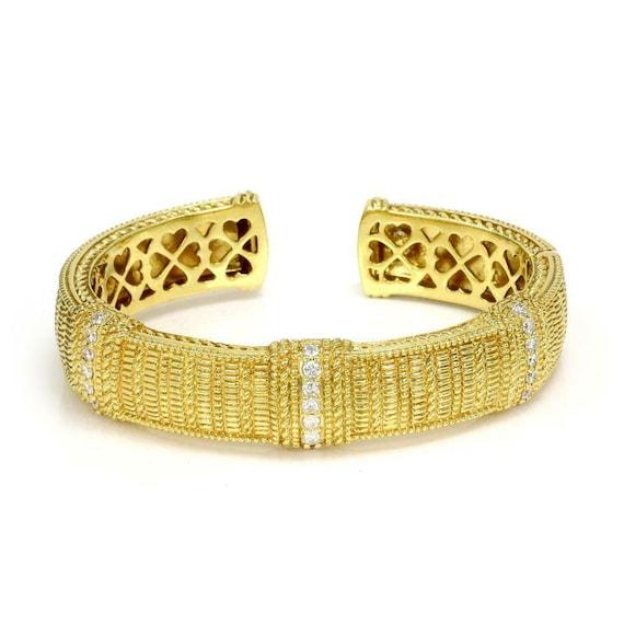 Judith Ripka 1.15ct Diamond 18k Yellow Gold Cuff B