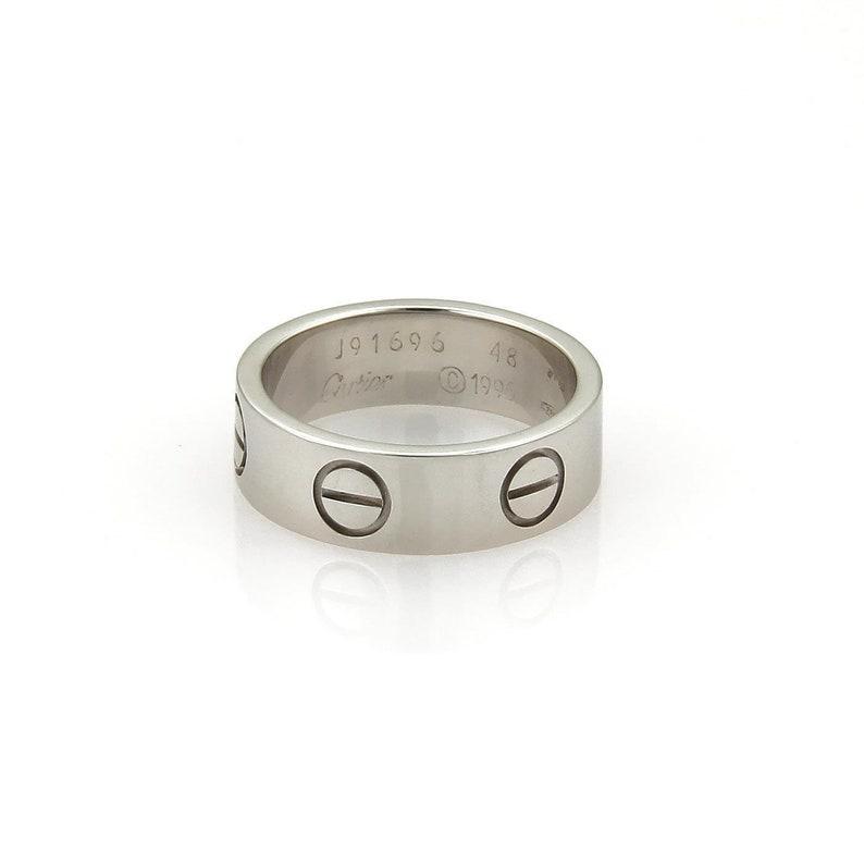 103a2cd1f2e68 Cartier Love 18k White Gold 5.5mm Band Ring Size EU 48-US 4.25