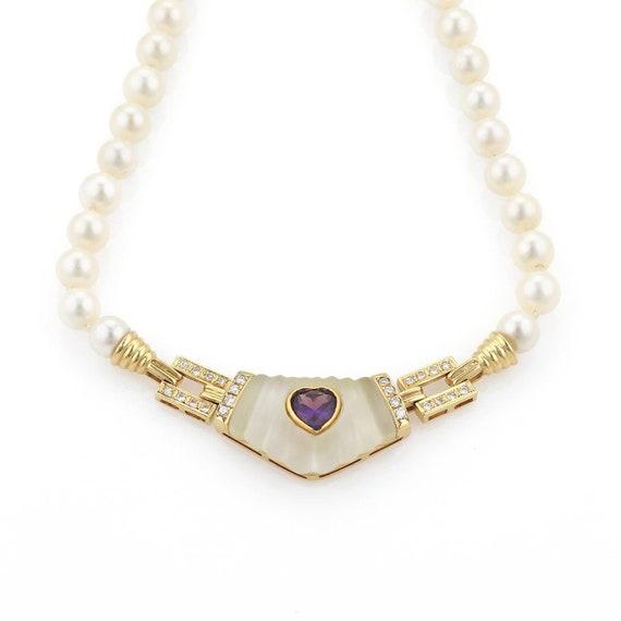 d41a054d0cbc5 Estate 3.35ct Diamond Amethyst 18k Yellow Gold Pendant Pearl Necklace