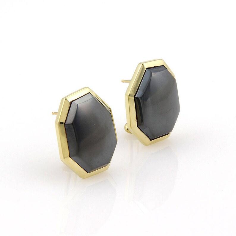 15c1aad1c Circa 1980 Tiffany & Co. 18K YGold Hematite Designer Earrings   Etsy