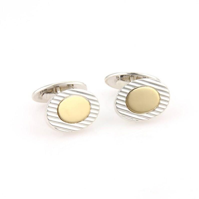 44ccd2472651b Vintage Tiffany & Co. 18kt Yellow Gold 925 Silver Oval Ridge Style Cufflinks