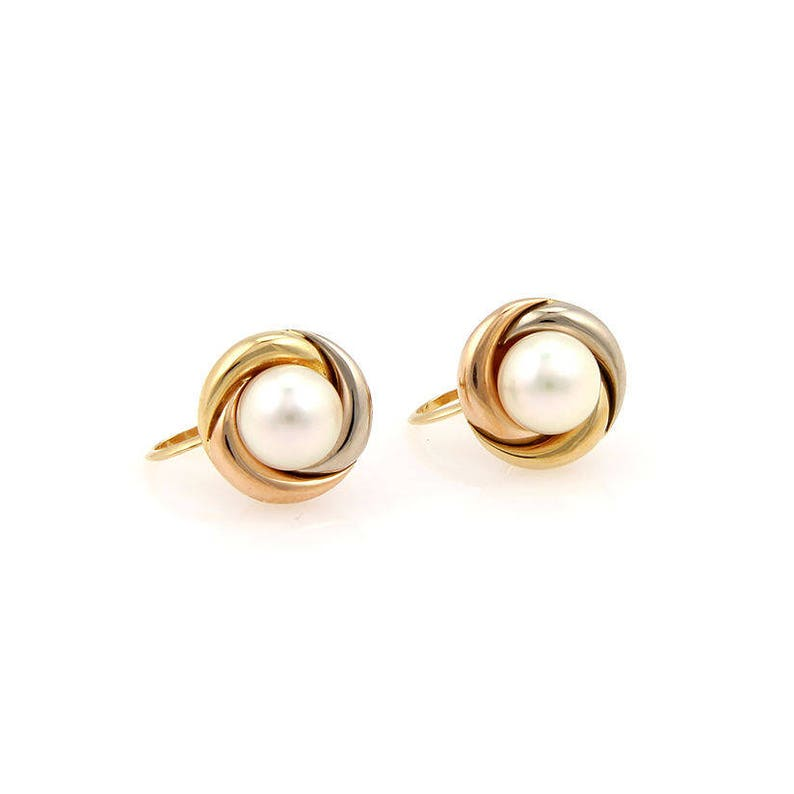 61fedd00c7a9 Circa 1989 Cartier 18K Tri Color Gold Trinity Pearl Earrings