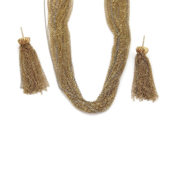 14k Two Tone Multi Strand Chain Necklace & Danglin