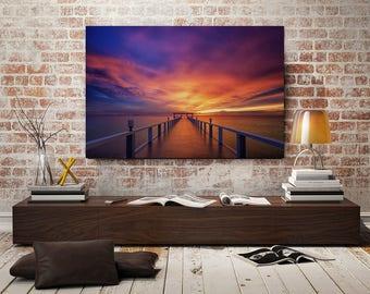 Sunset Pier Seascape Canvas Wall Print, Ready to Hang, Home Decor Wall Art, Modern Art, Contemporary Art, Wall Art, Wall Poster, Art Print