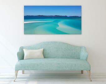Blue Beach Seascape Canvas Wall Art Print , Ready to Hang, Home Decor Wall Art, Modern Art, Contemporary Art, Wall Poster, Art Print