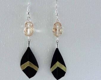 beetle swarovski earrings crystal earrings