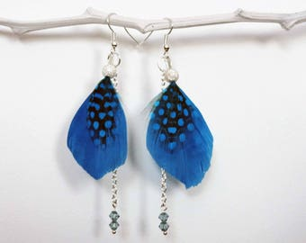 Feathers, Swarovski crystals and pearls earrings, Silver Earring Crystal Dangle Earrings