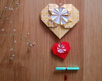 Origami yellow and Red - Valentine heart card-suspension