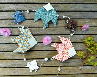 Garland multicolor origami fish