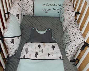 "round bed 5 removable cushions themed ""teepee/Indian"" bumper baby triangles * available *."