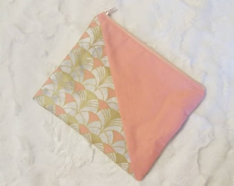 Wallet, clutch, coral, coral, pink and gold graphic print