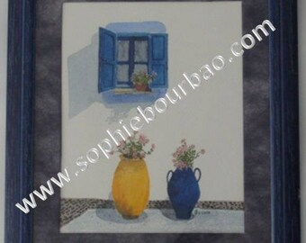 Watercolor alley in the Greek Islands - Cyclades