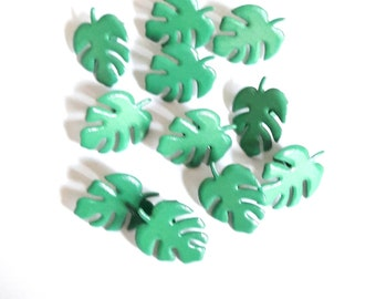 10 brads, paper clip, green leaves, size 17 x 13 mm theme plants & Nature