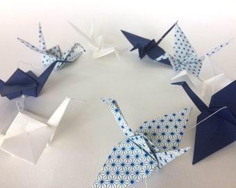 Garland of dark blue and white origami cranes