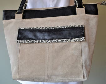 Upcycled suede handbag, faux leather, leopard print, Women's shoulder bag, upcycled, recycled materials
