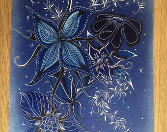 Drawing on blue - Midnight blue flowers