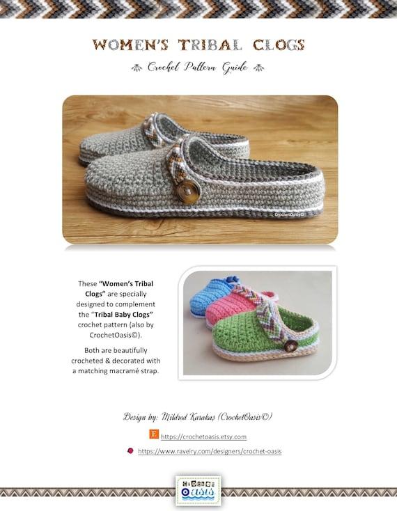 CROCHET PATTERN Women's Tribal Clogs - Crochet Clogs Pattern - Tribal Clogs  - Crochet Shoes - Crochet Shoes Pattern