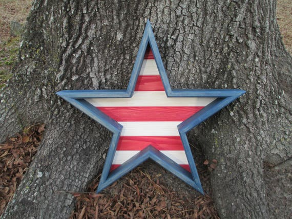 Large 3d Wood Star Wood Wall Art Wall Decor Wooden Star Wall Art Wooden Star 5 Sided Star Red White Blue Star July 4th Decor