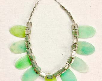 Aqua Sea Glass-Like Translucent Necklace