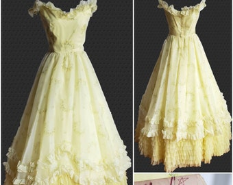 d319b388a4 Vintage Prom Dress Yellow Floral Chiffon Ruffles New Old Stock -Nadine  Formals
