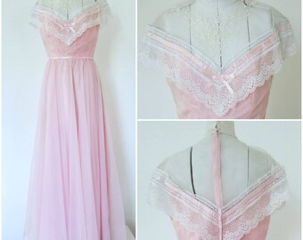 908b17243402 70s Prom Dress Vintage Victorian Boho Pink Chiffon and Lace Deadstock