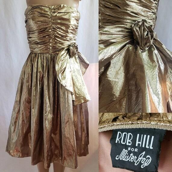 80s Prom Dress / Vintage Prom Dress / Metallic Gol