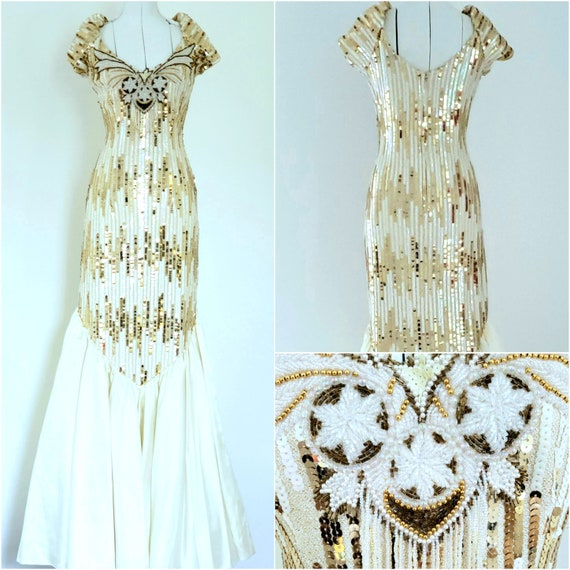 80s Prom Dress / Vintage Prom Dress / Gold Cream Sequins / 80s Pageant  Dress/ Size 16 / Plus Size Vintage / Alyce Designs