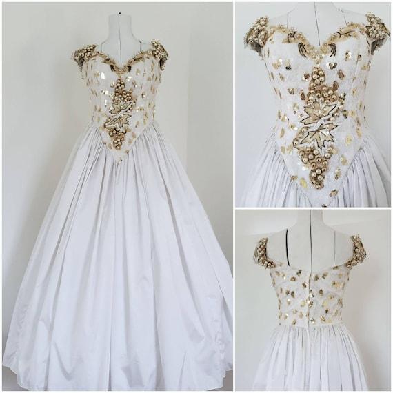 80s Prom Dress / SALE / Vintage Prom Dress  / Whit