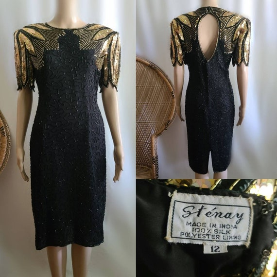 80s Prom Dress / Vintage Prom Dress / Black and Go